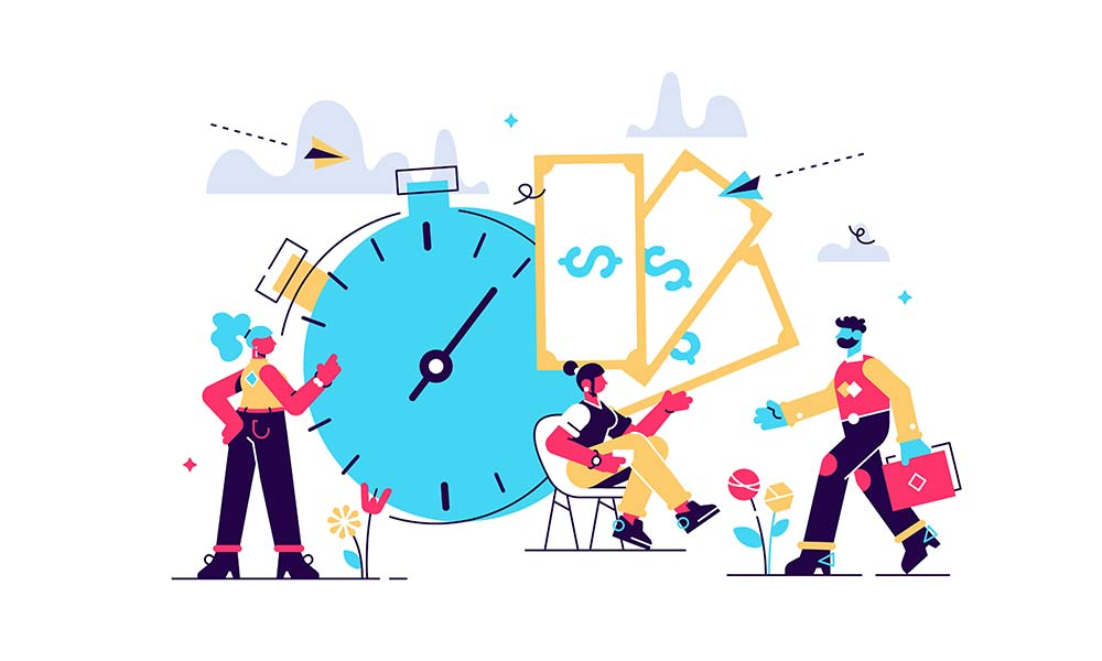 An illustration shows time is money