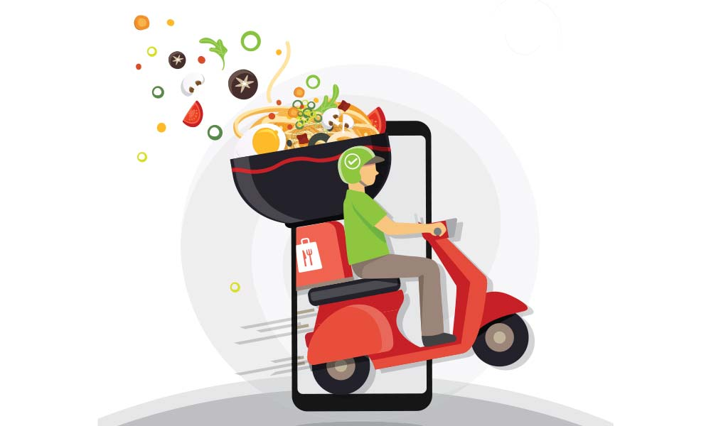 Illustration of a delivery scooter of an online food store