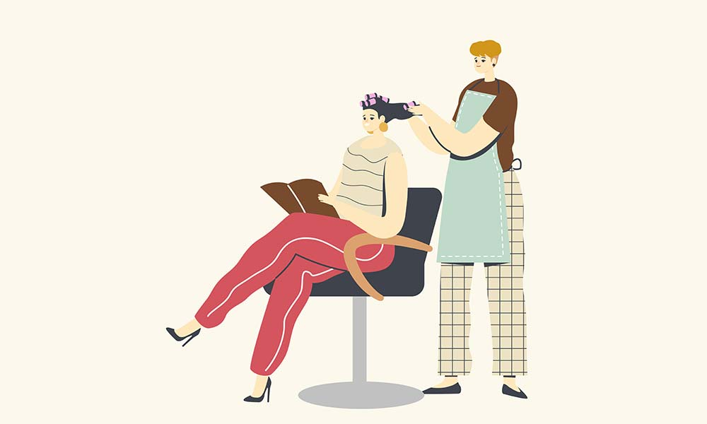 Young woman visiting beauty salon service business