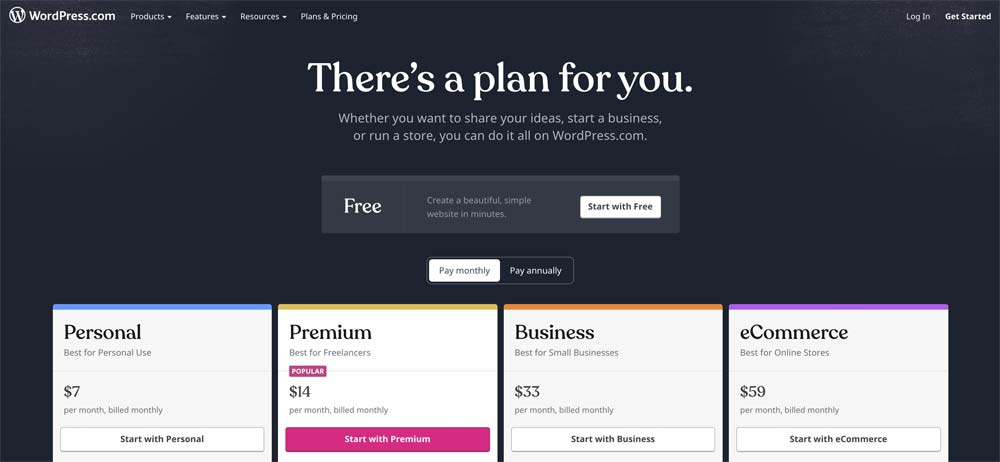 WordPress personal, premium, business and eCommerce pricing page