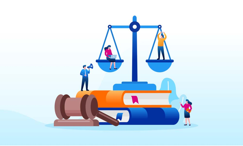 An illustration depicting law firm SEO