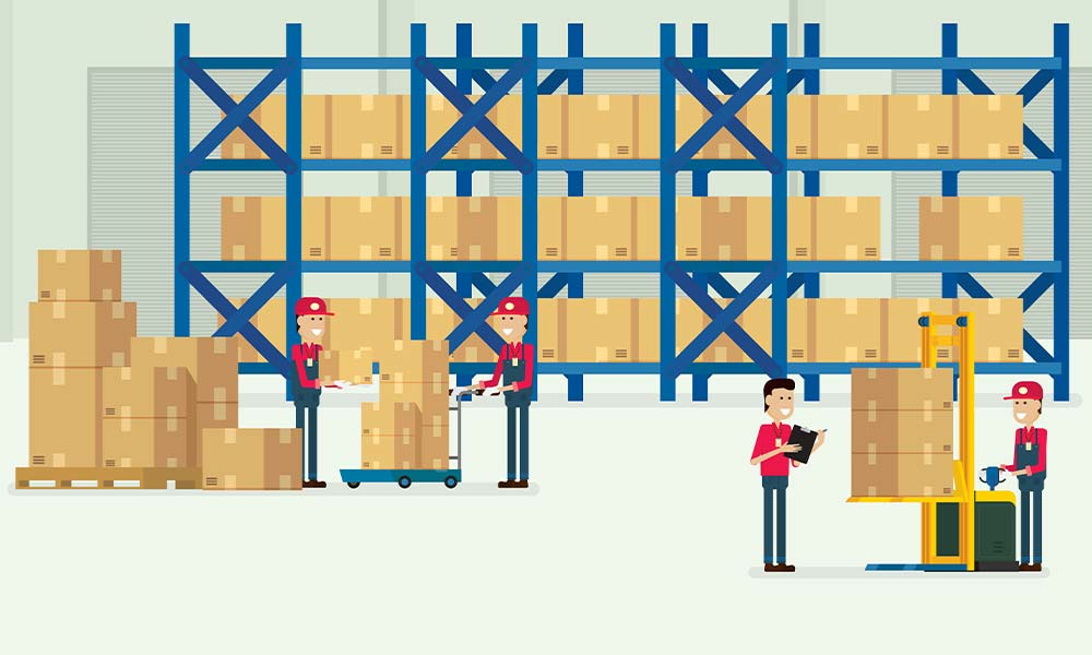 eCommerce fulfillment warehouse with workers