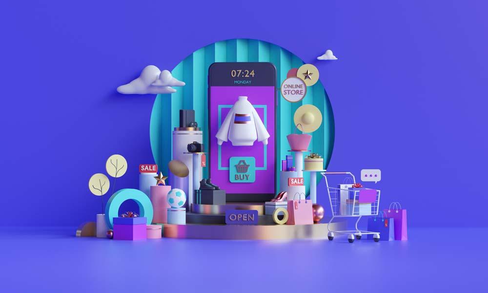 Online store illustration on website or mobile application